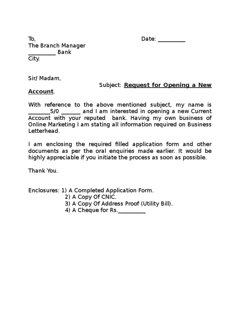 Application To Open Bank Account Letter
