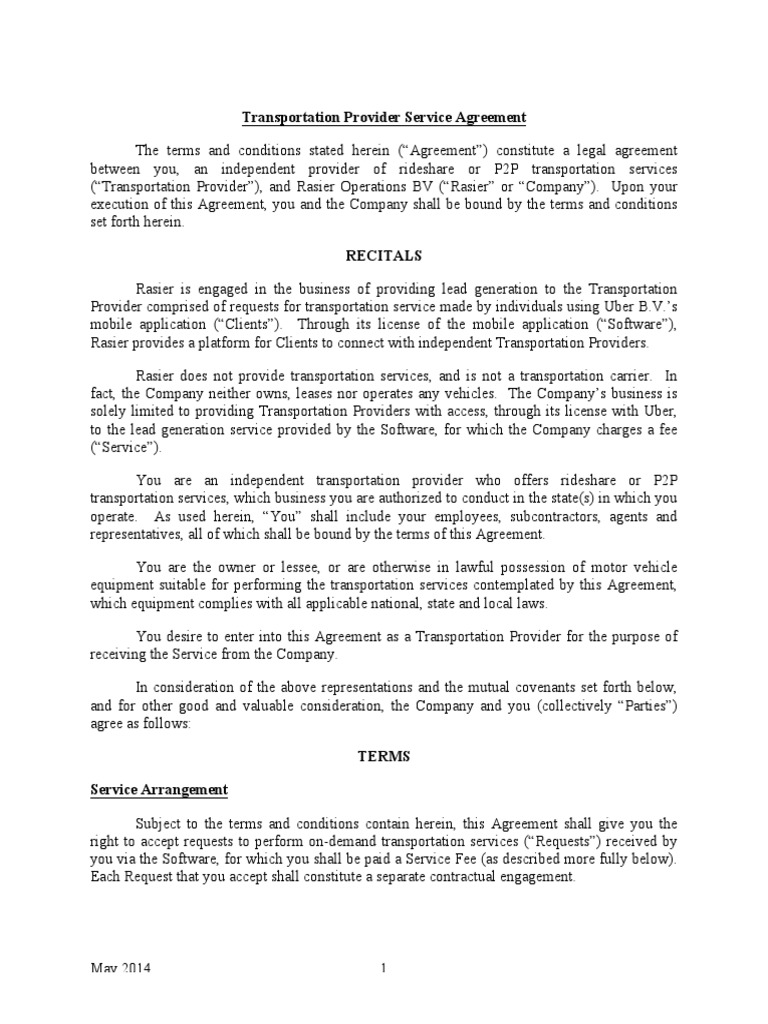 Uber Transportation Provider Service Agreement Docshare