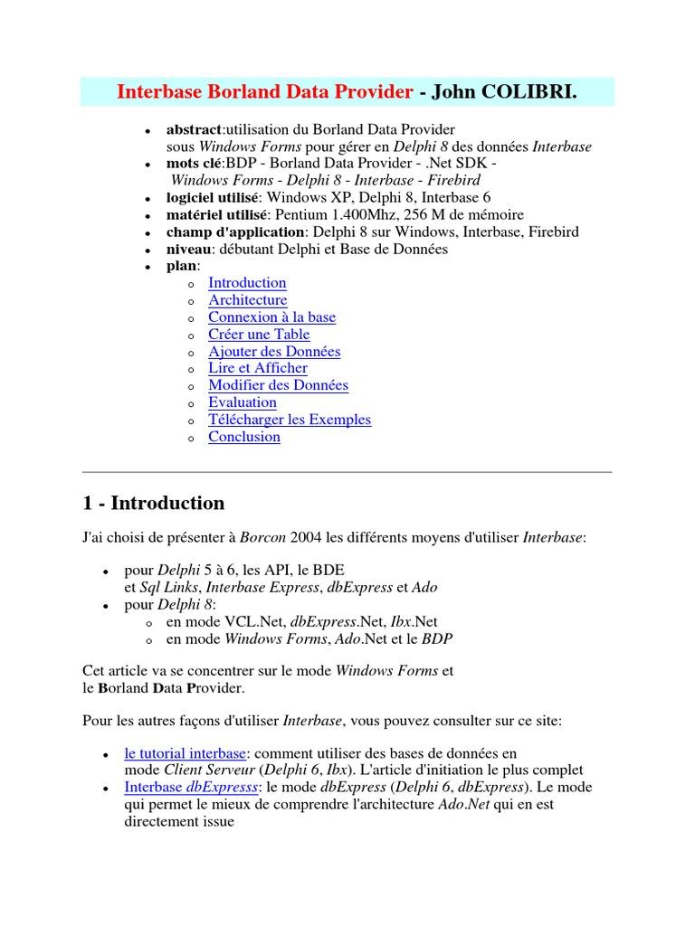 Interbase Borland Data Provider - DocShare tips