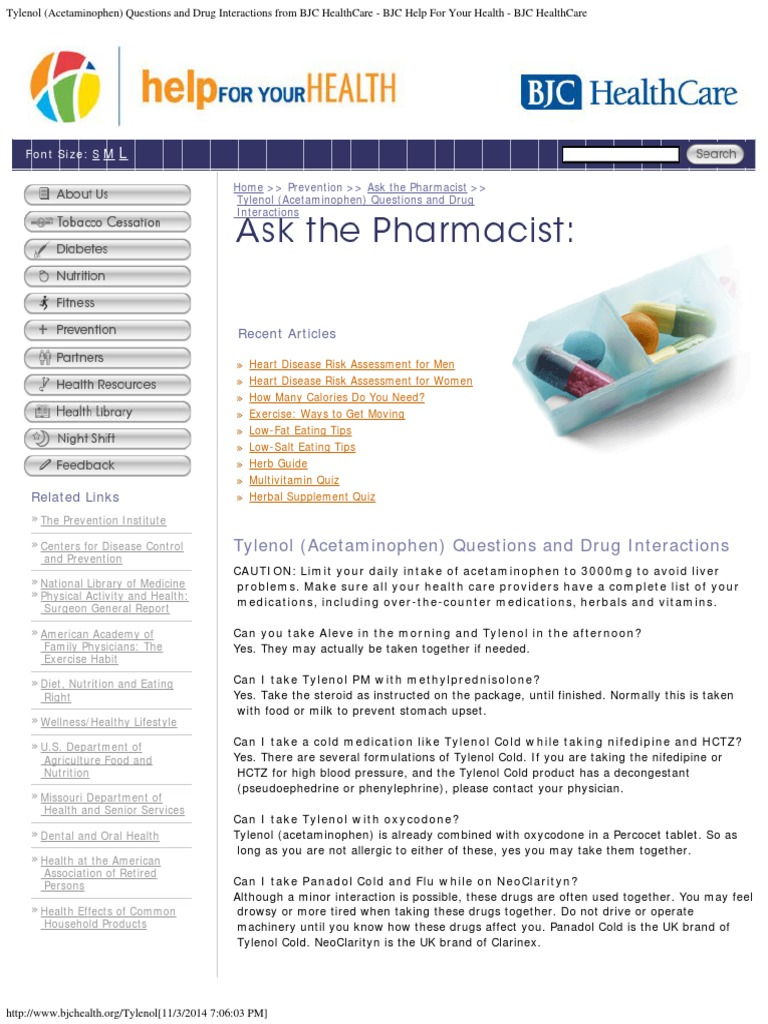 Tylenol (Acetaminophen) Questions and Drug Interactions from