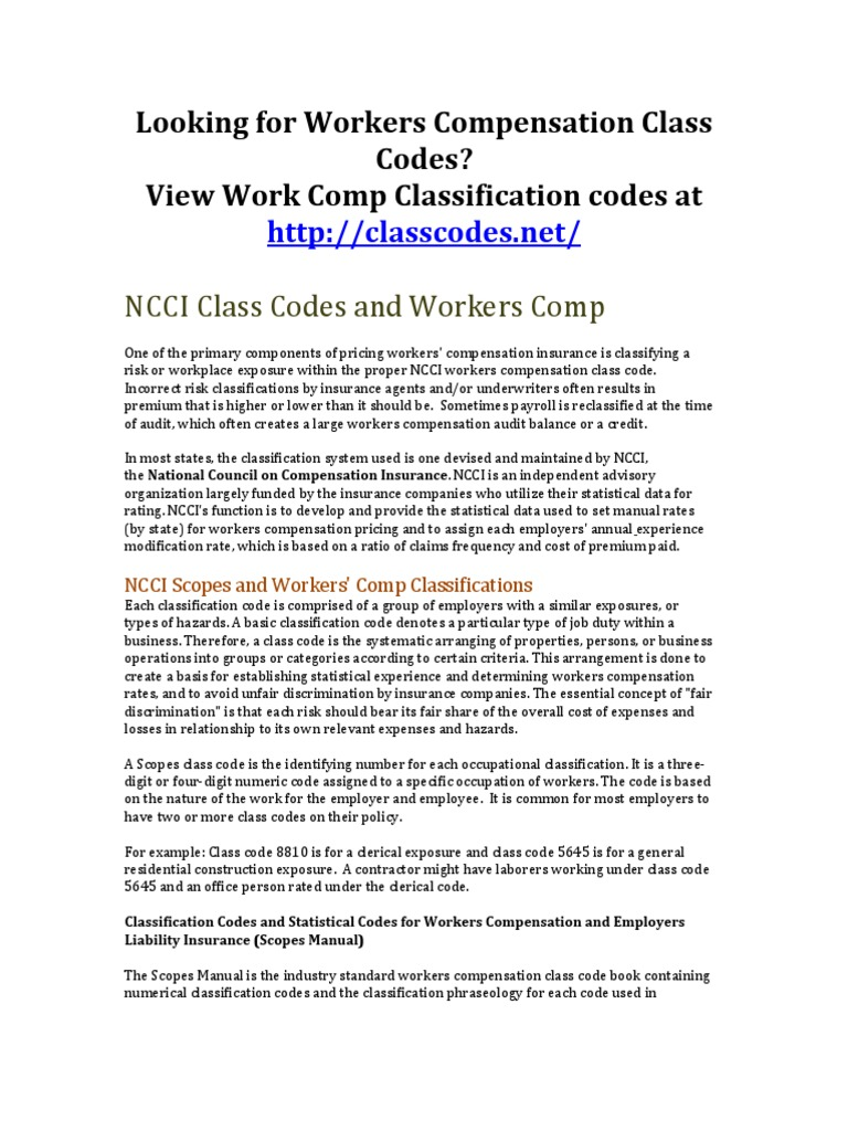 ncci classification codes new the best code of 2018 rh duniaiptek com Shipping Classification Codes Standard Industrial Classification Codes