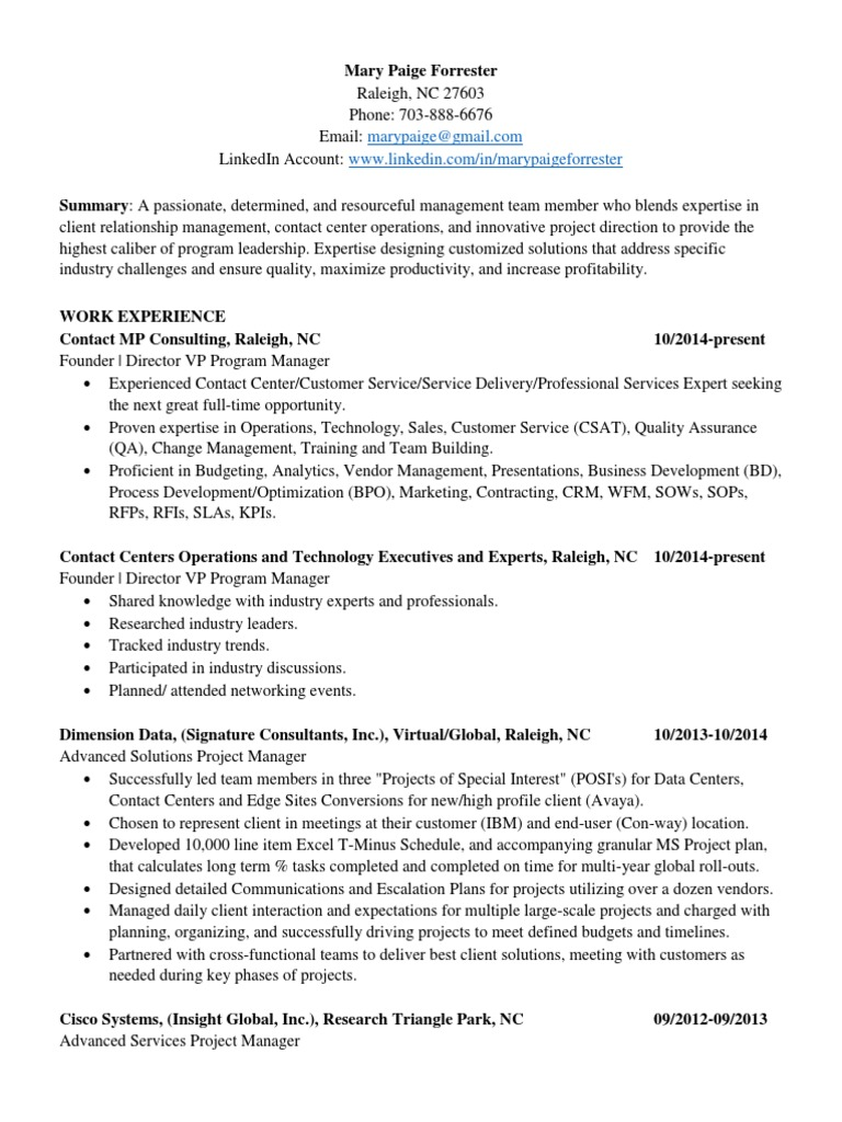 resume project manager