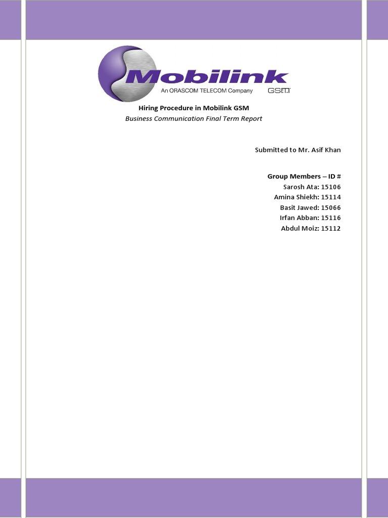 mobilink managment term paper