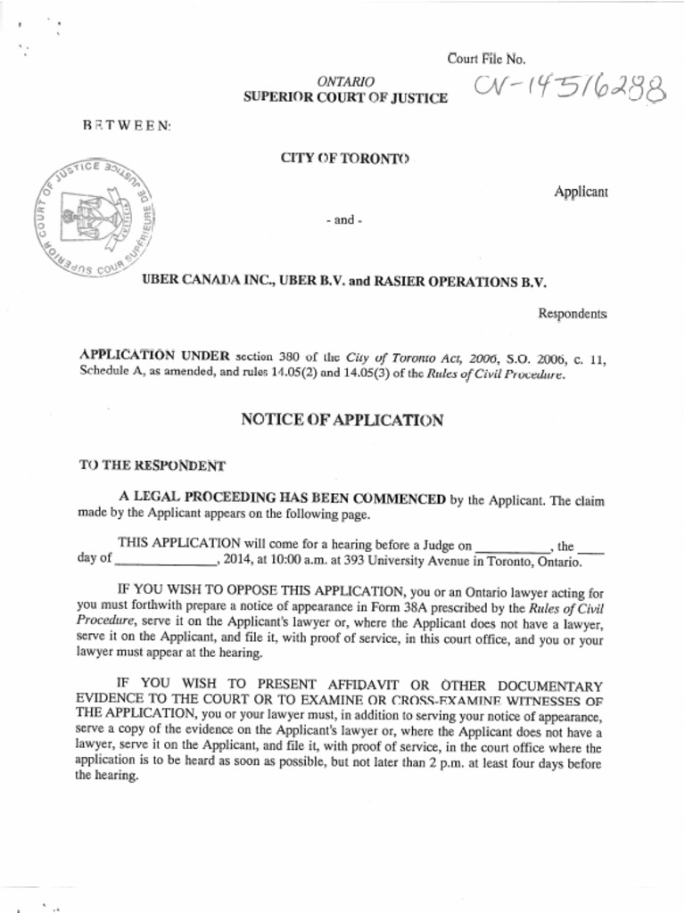 City of Toronto court application for injunction against Uber ...