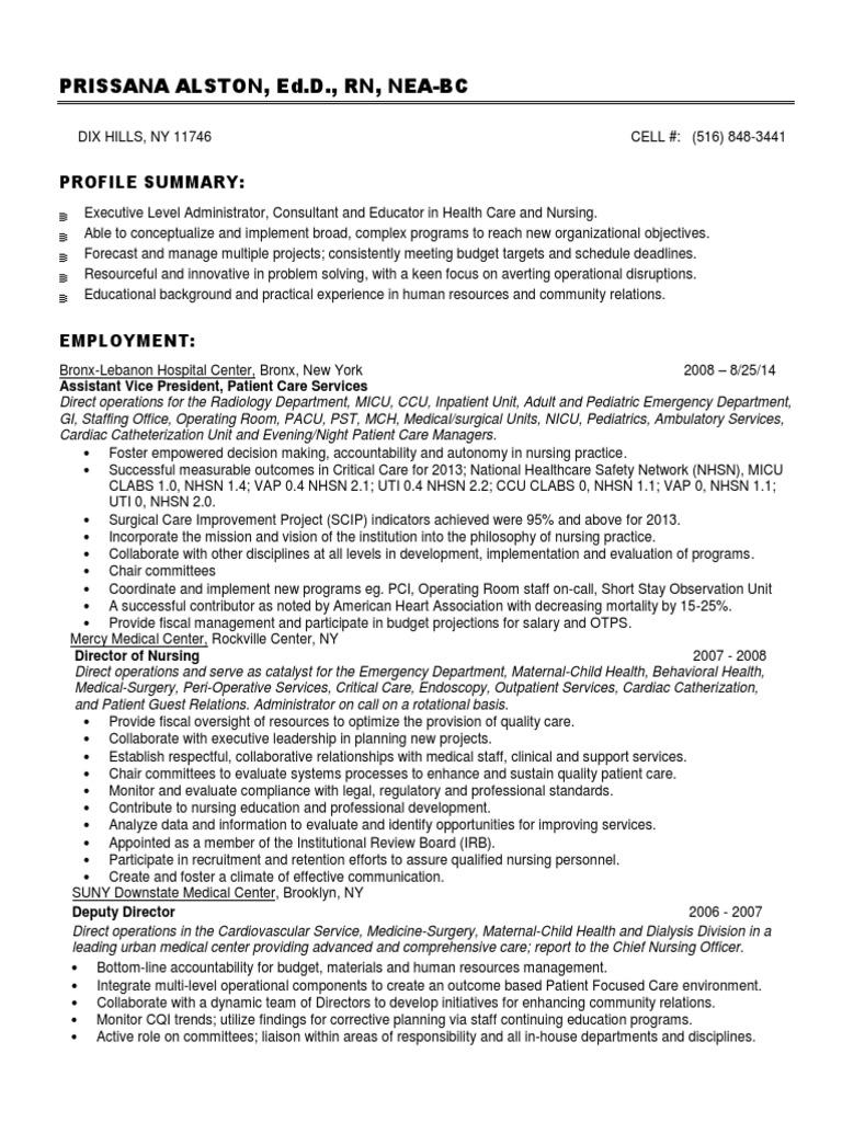 chief nursing officer in usa resume prissana alston