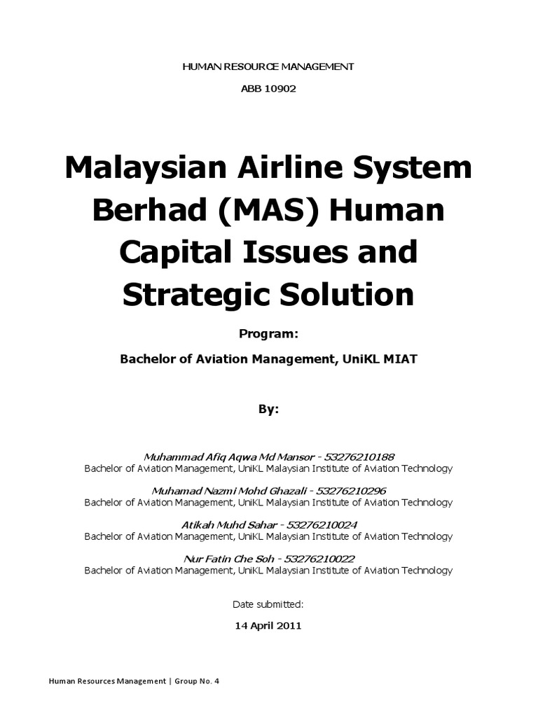 human resource strategy malaysia airline