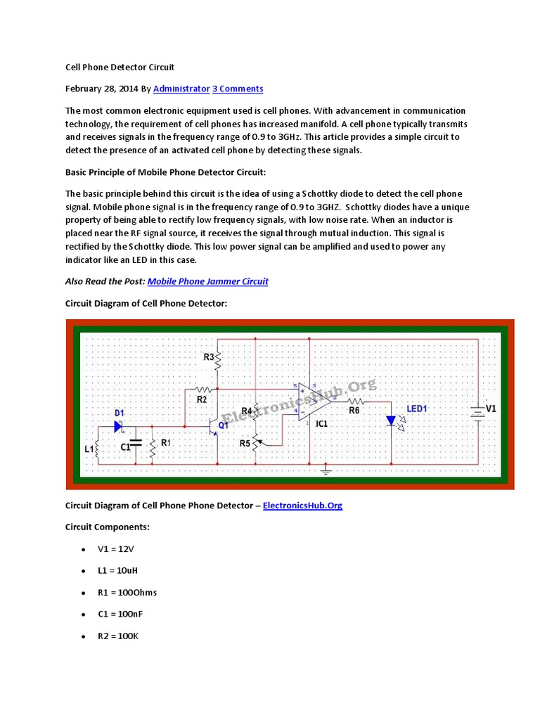 Download Cell Phone Detector Circuit Diagram Of Metal Project