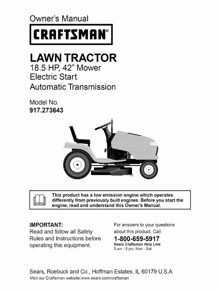 "Craftsman LAWN TRACTOR 18.5 HP, 42"" Mower"