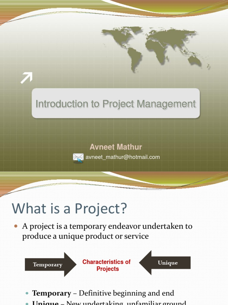 introduction to project management management essay Sample essay introduction problems, needs, and opportunities arise continuously in all organizations low operational efficiency, penetrating a new market or the need for additional office space are some of the situations the management need to address while operating an organization.