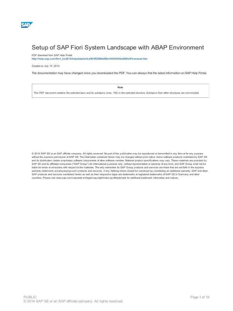 Set Up of SAP Fiori Syst Em Landscape Wit h ABAP Environment