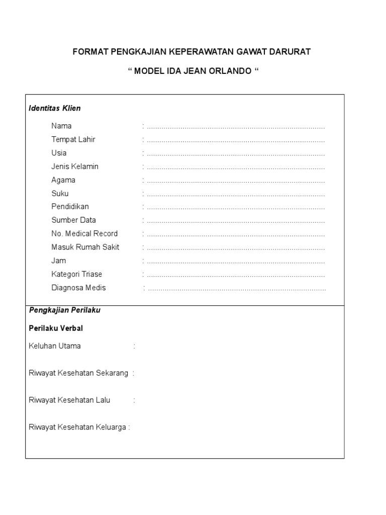 format pengkajian orlando - Format Resume Keperawatan Doc