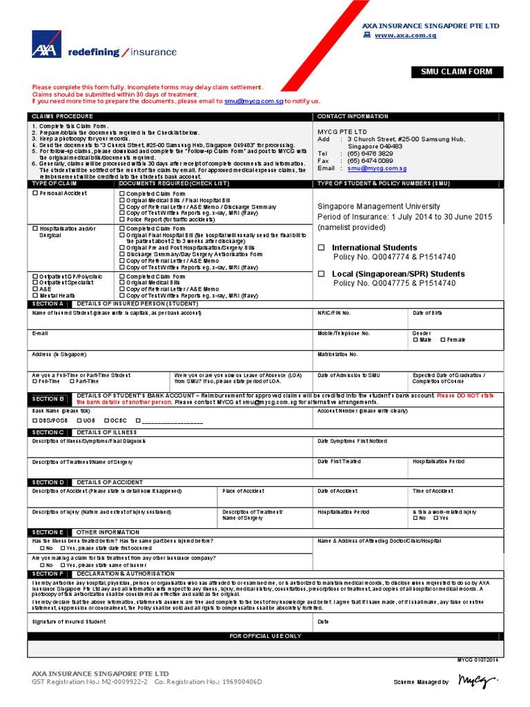 Download Claim Form Insurance Smu Axa