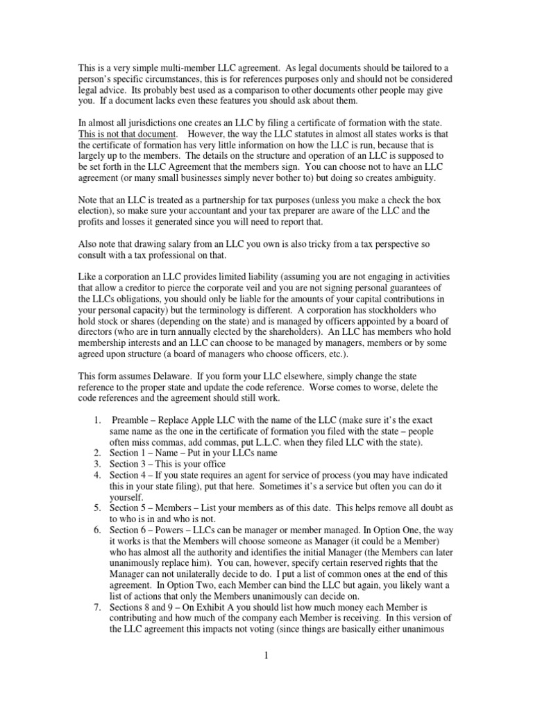 Download Simple Single Member Llc Agreement Docshare
