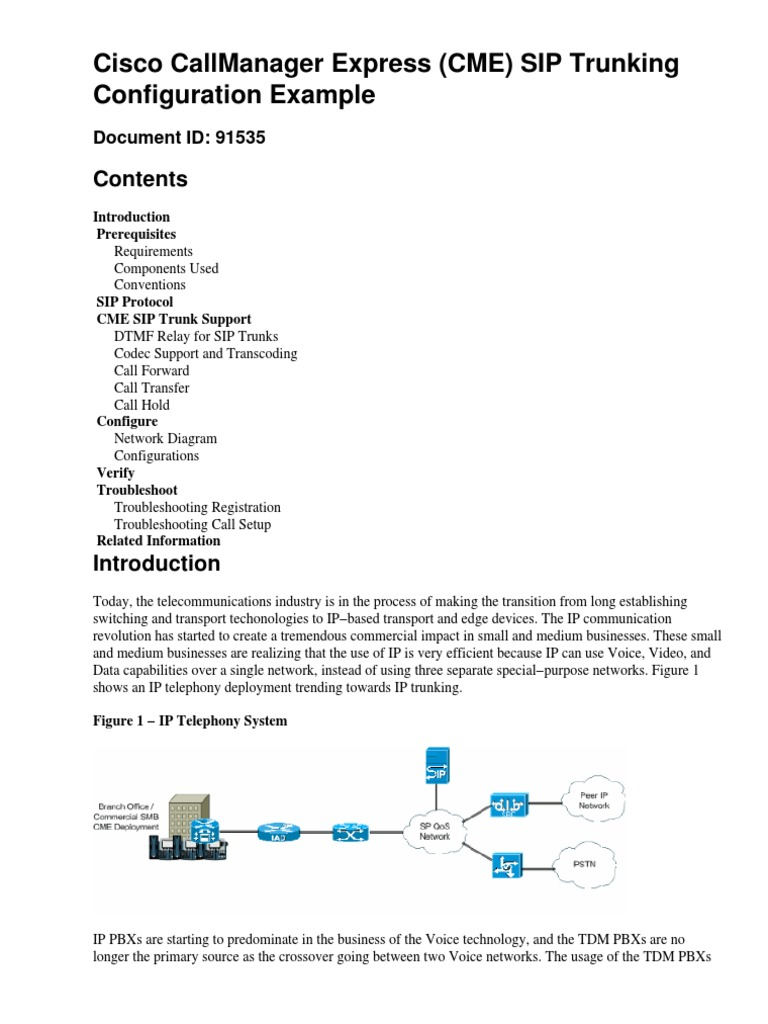 Download Cisco CallManager Express (CME) SIP Trunking Config Example