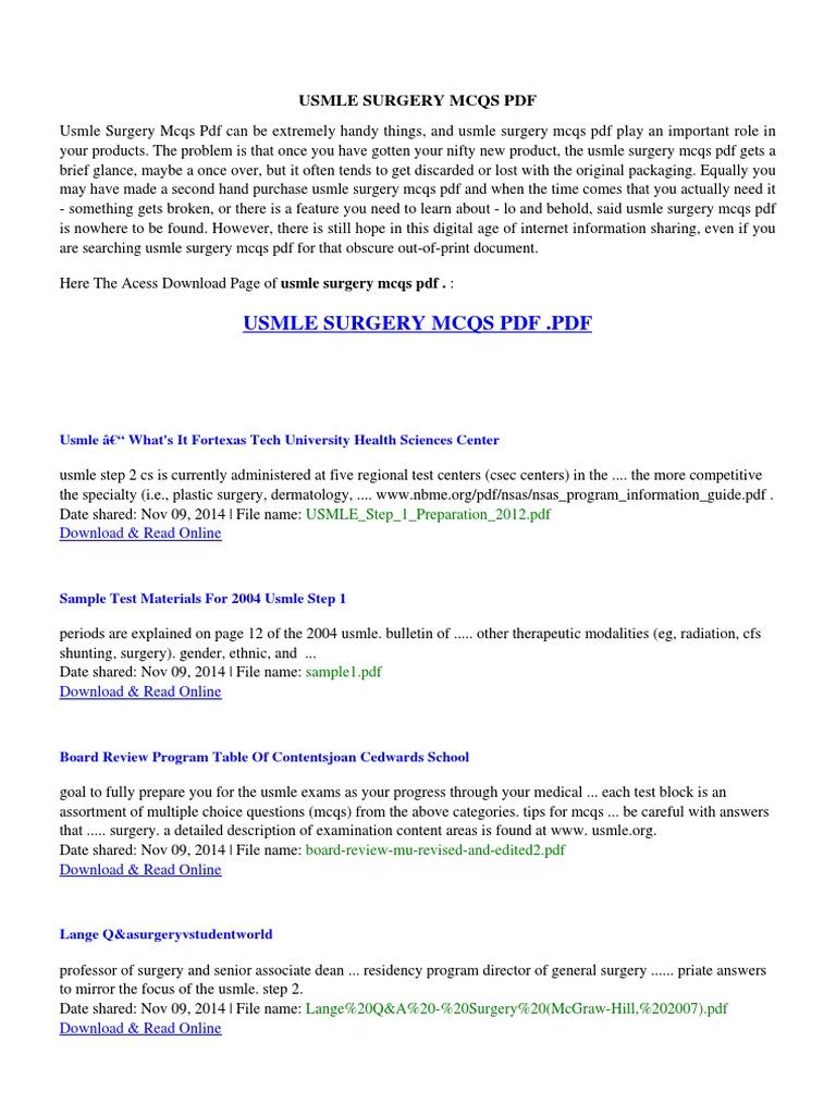 usmle surgery mcqs pdf pdf docshare tips