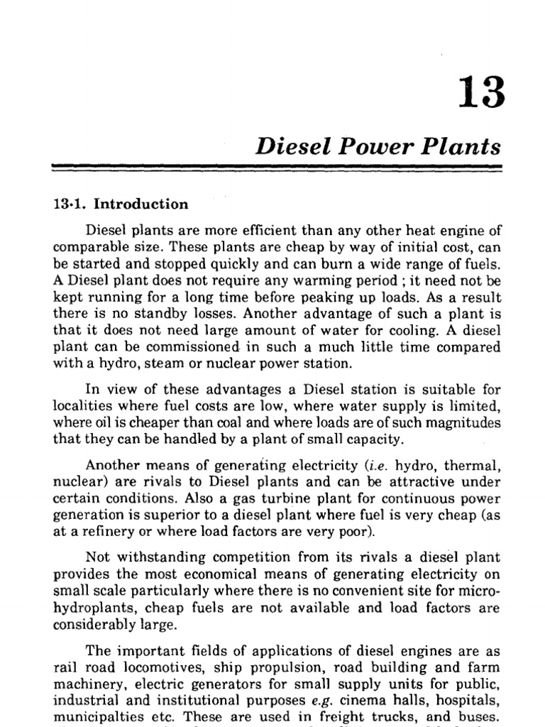 Diesel Power Plants Plant Layout And Working