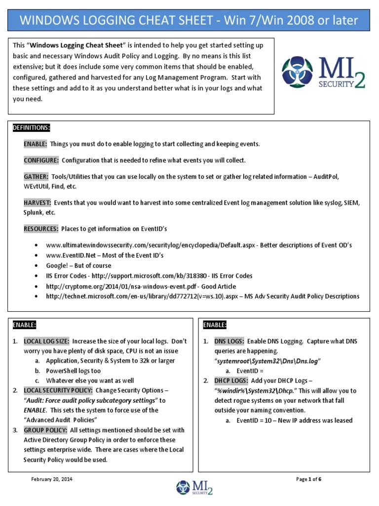 Windows Logging Cheat Sheet v1 1 - DocShare tips