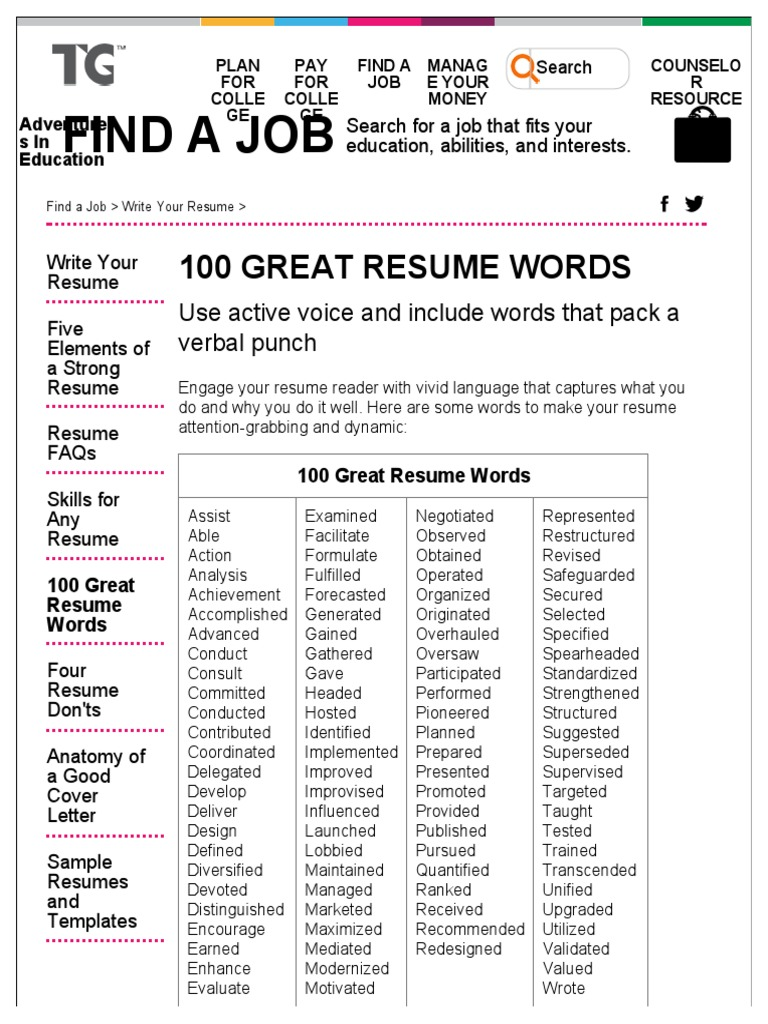 download resume power words docshare tips