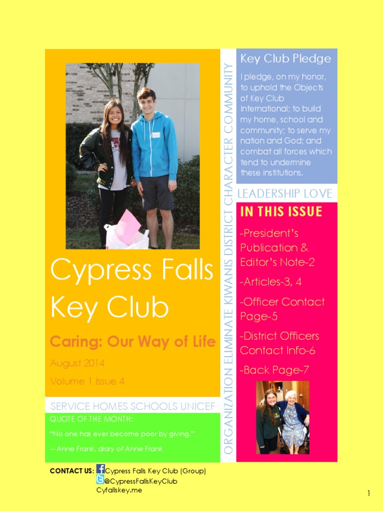 Cypress Falls Key Club August 2014 Newsletter