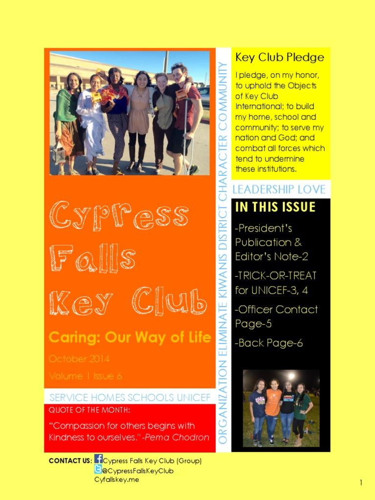 Cypress Falls Key Club October 2014 Newsletter