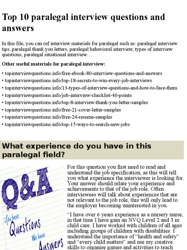 top paralegal interview questions and answers pptx docshare tips