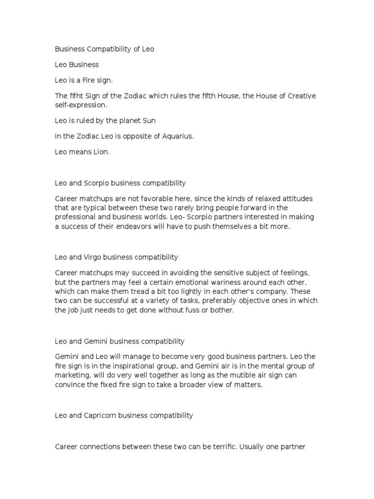 leo and leo business compatibility