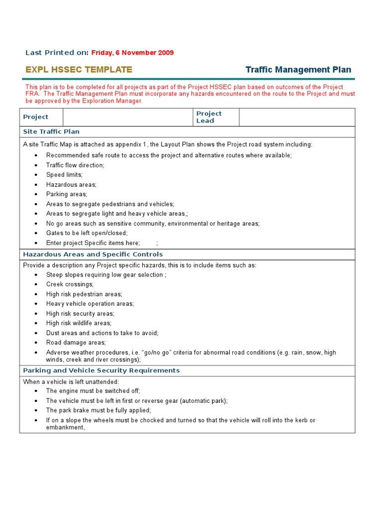 Traffic management plan template docshare maxwellsz