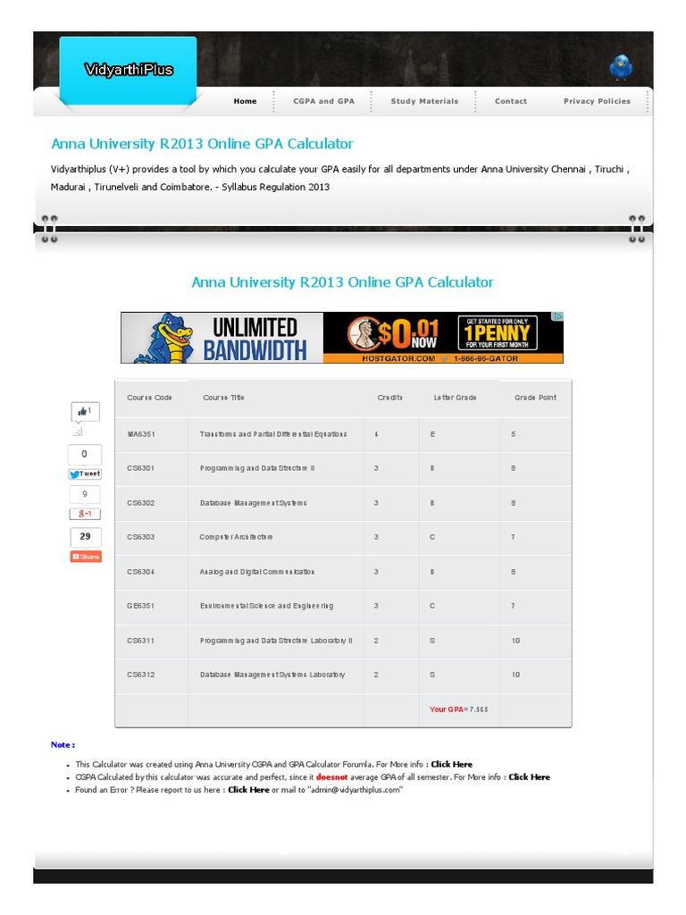 Anna University R2013 Online GPA Calculator - DocShare tips