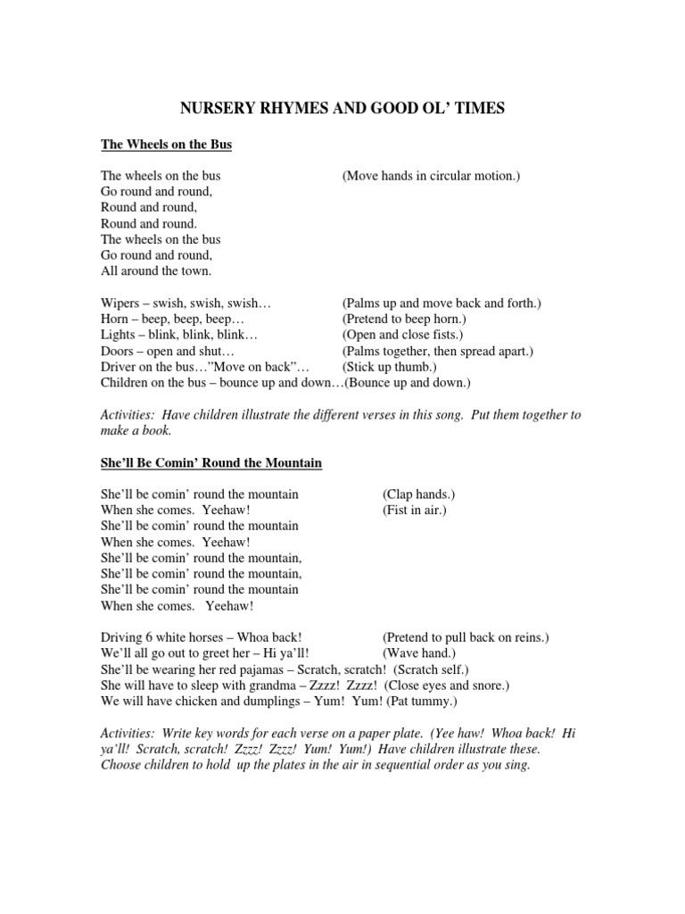 Lyrics Nursery Rhymes - DocShare.tips