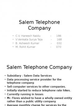 salem telephone company accounting case Salem telephone case salem telephone company / salem data services financial analysis bus 5431 - managerial accounting – spring1 2009.