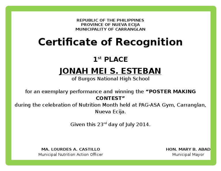 Sample of certificate of recognition nutrition month gallery example of certificate of recognition fieldstation example of certificate of recognition sample certificate recognition yadclub gallery yadclub Gallery