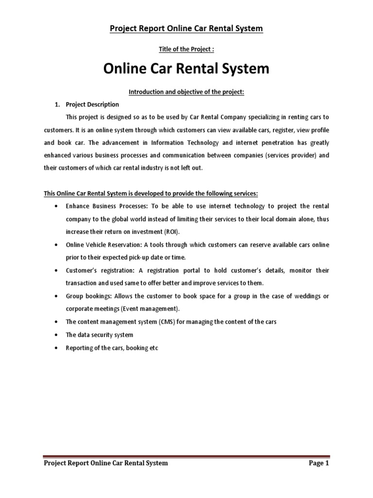 Php And Mysql Project On Car Rental System Project Report