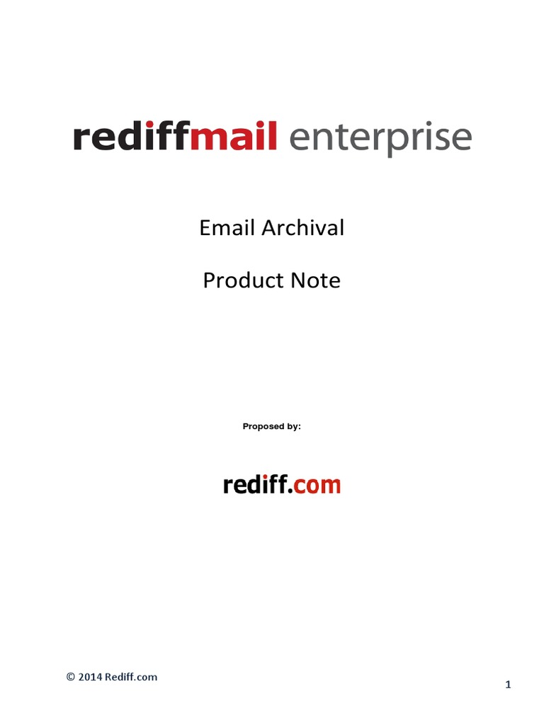 Rediffmail - Rediffmail Enterprise Email Archival Product Note