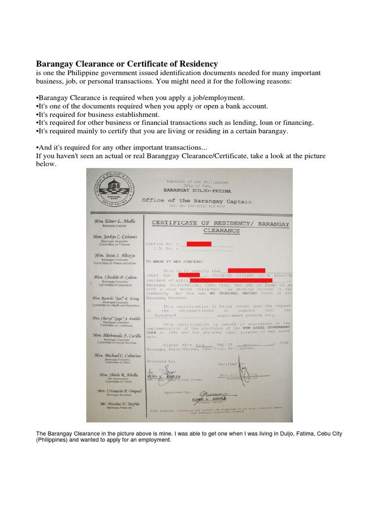 Barangay Certification Of Residency Sample Image Gallery Hcpr