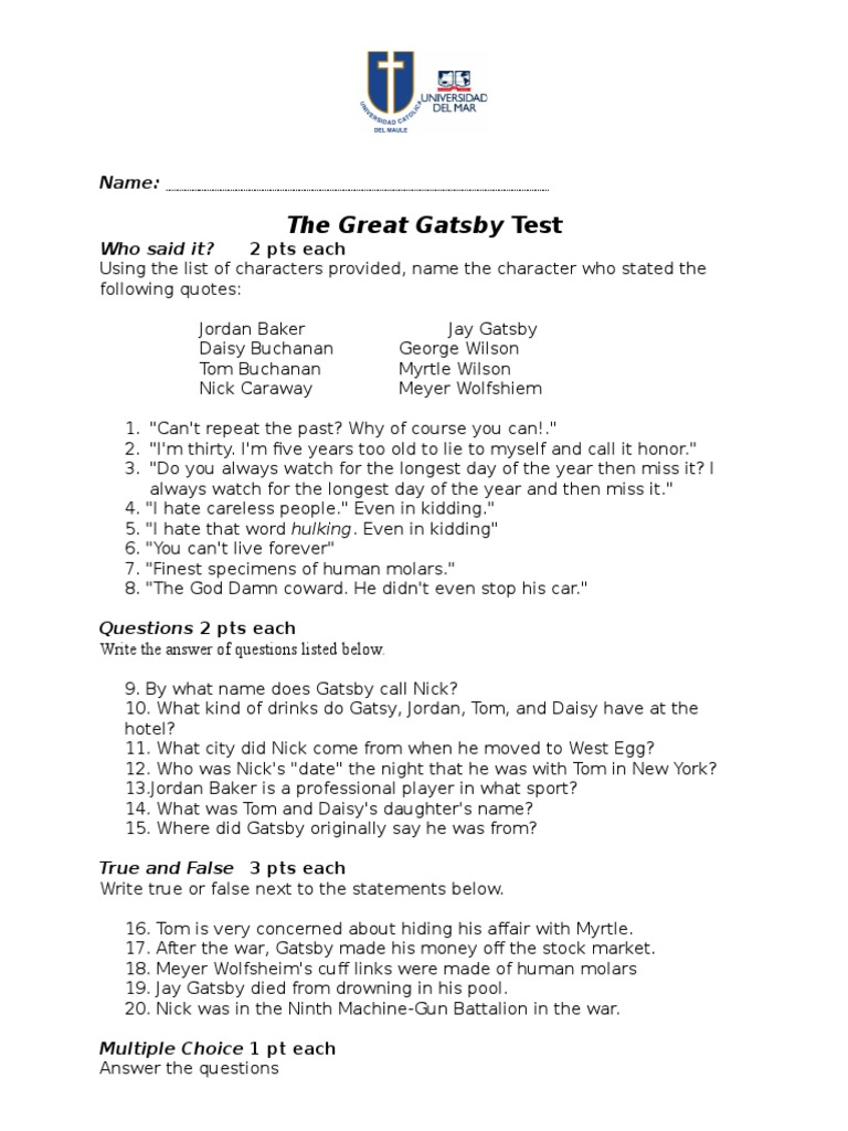 essay questions for the great gatsby and the answers The great gatsby was written by f scott fitzgerald, and depicts life in the roaring twenties, this is a term used for the nineteen twenties chose a theme that, in your opinion, answers the question what is the great gatsby really about in a argumentative essay, explain the importance of this.