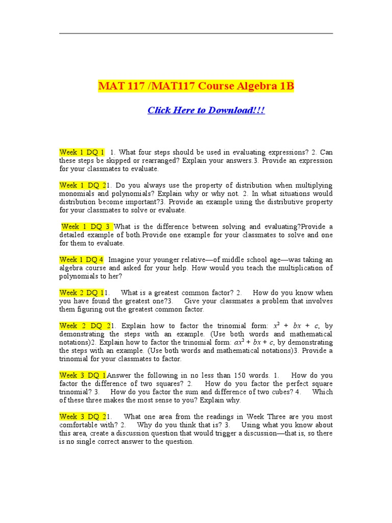 mat 117 algebra 1b appendix c Study mat117 algebra 1b from university of phoenix this course is the second half of the college algebra sequence, which began with mat 116, algebra 1a.