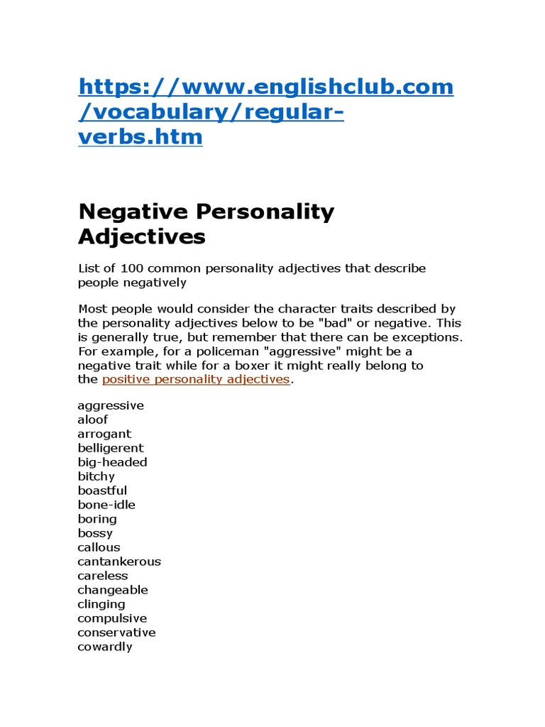 Negative Adjectives - DocShare tips