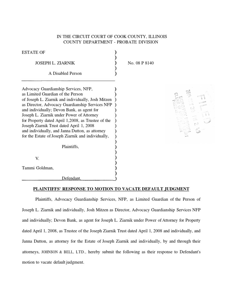 Download Sample Motion to Vacate California Default Judgment with ...