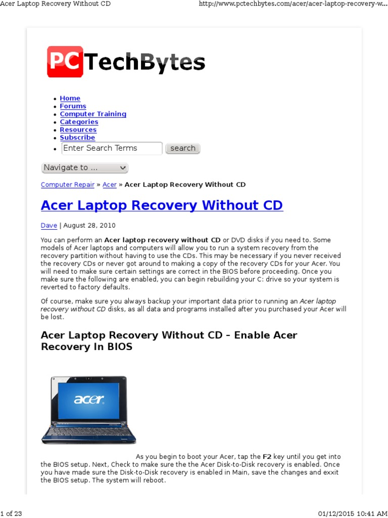 how to reboot a acer laptop