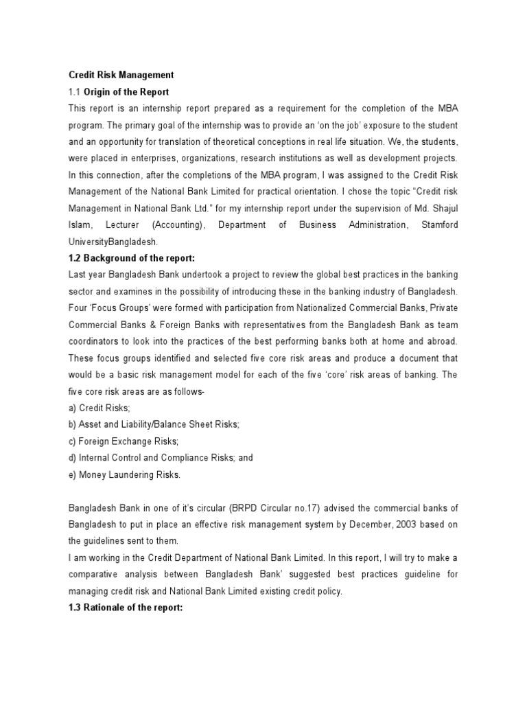 internship report on credit risk management Internship report on credit risk management of bank asia limited internship report on foreign exchange activities of jamuna bank mohakhali branch internship report - crm (credit risk management) practice of basic bank limited, bangladesh.
