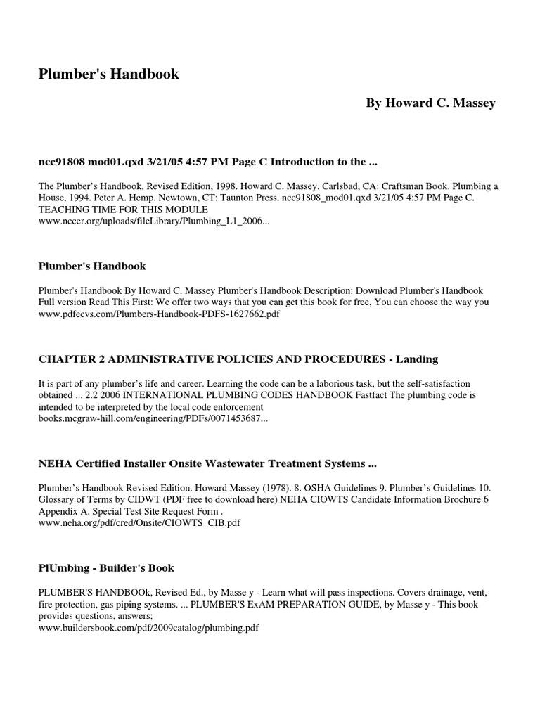 Plumbers Handbook Howard Massey - DocShare tips