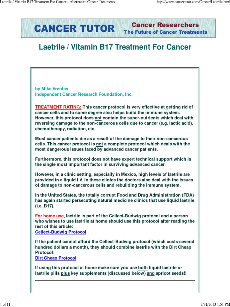 the laetrile treatment and its effectiveness in curing cancer