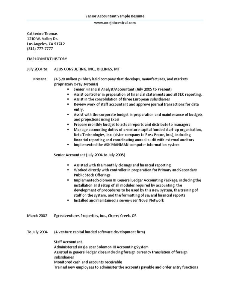 senior accountant sle resume docshare tips