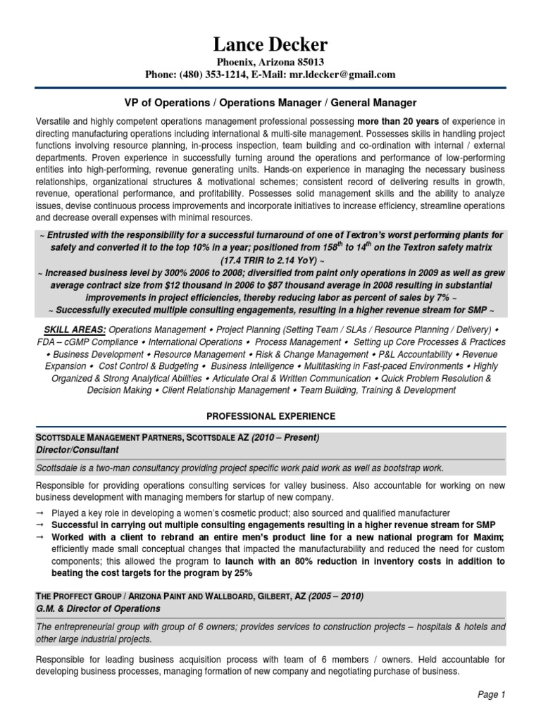 Download Senior VP Operations Manufacturing in Greenville SC Resume