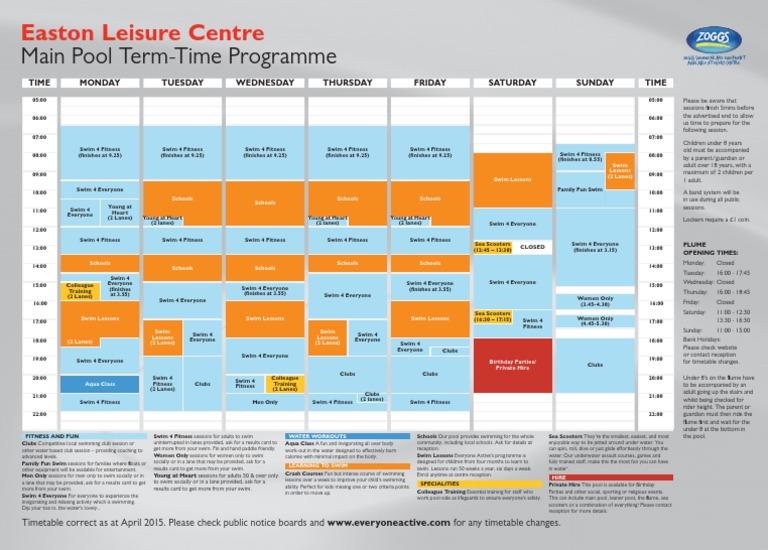 Easton Leisure Centre Pool Timetable