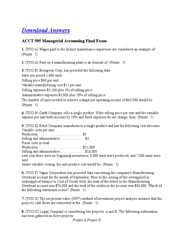 ac 505 managerial accounting final exam Solution for ac 505 managerial accounting final exam essays and research papers  solution for ac 505 managerial accounting final exam acct 346 (managerial.