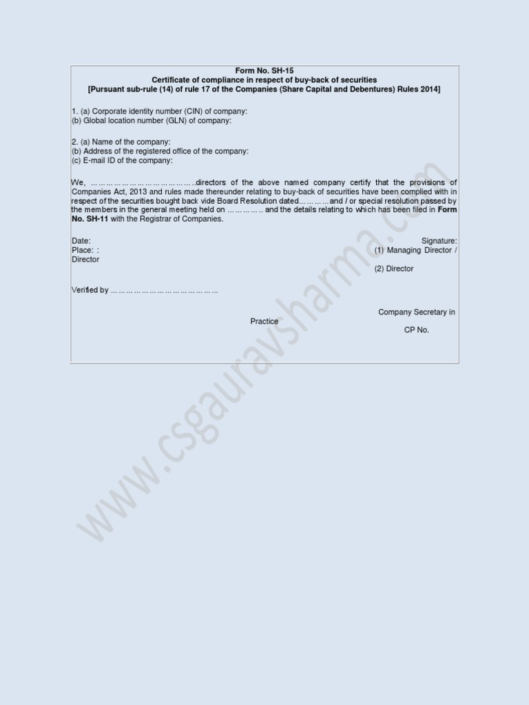 Format form no sh 15 certficate buyback of shares docshare 1betcityfo Images
