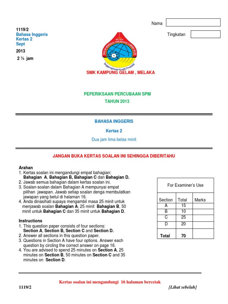 essay report spm 2009 Spm sample essay in one of the lessons where we were revising for spm examination, i told my students that they should memorize at least a narrative essay in order to tackle section b of paper 1 one of my students memorize this essay:.