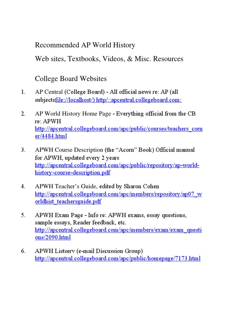 Download Recommended AP World History Resources - DocShare tips