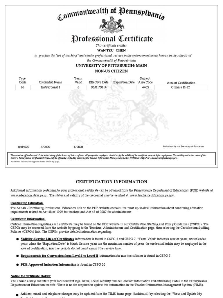 Pa Chinese Teaching Certificate Wan Tzu Chen Docshare